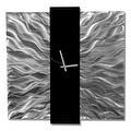 Statements2000 Black / Silver 24-inch Metal Hanging Wall Clock - Elegant Mechanism - Thumbnail 1