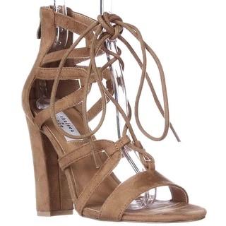 Chelsea & Zoe Elyse Lace-up Dress Sandals, Camel