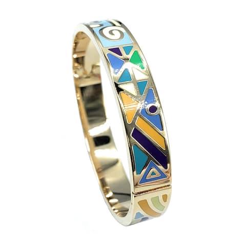 Women's Fashion Mosaic Pattern Enamel Bangle Bracelet, Colorful Blue