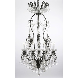 Swarovski Crystal Trimmed Wrought Iron Crystal Chandelier Lighting