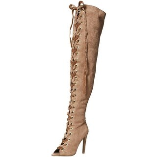 Qupid Womens Interest Fabric Closed Toe Knee High Fashion Boots