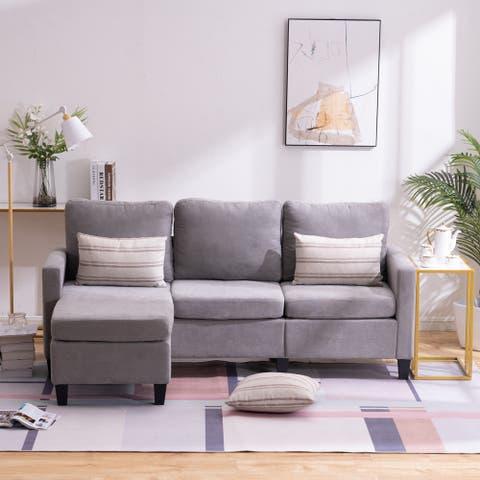 Global Pronex Velvet Sofa with Soft Cushion for Living Room Suitable (Light Grey)