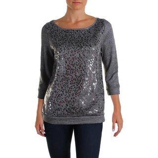 Three Dots Womens Sweatshirt Metallic French Terry