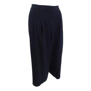 Nine West Women's Plus Size Pleated Culottes - Black