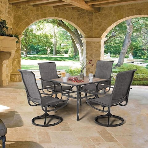 MFSTUDIO 5-piece Steel Patio Dining Swivel Chairs and Square Table Set