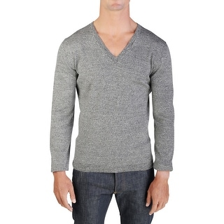 Prada Men's Cotton V-Neck Sweater Grey