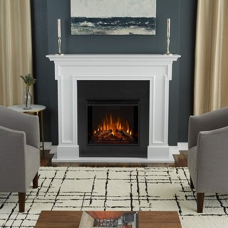 Thayer Electric Fireplace in White - 54.38L x 13W x 44.88H