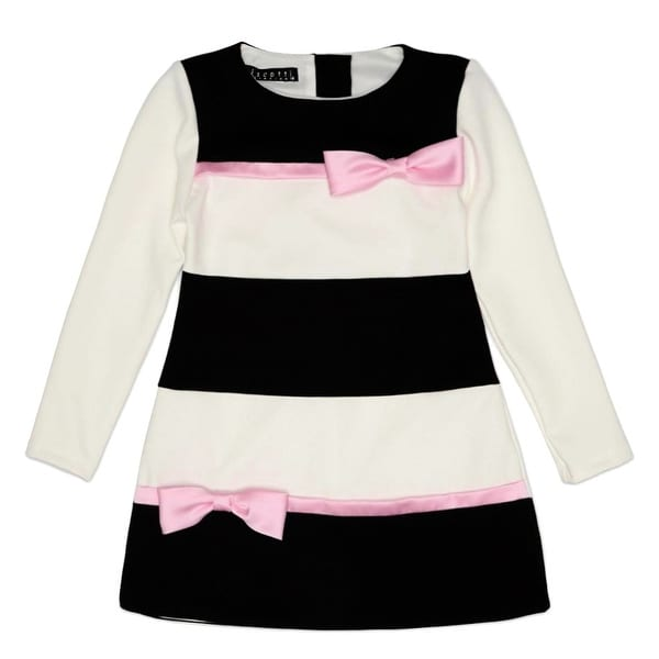 b9dc9d351b71 Shop Biscotti Girls Black Ivory Pink Bow Long Sleeve Special Occasion Dress  - Free Shipping Today - Overstock - 23461971