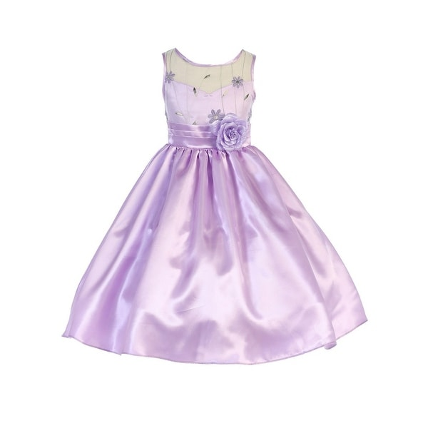 d58b9e349a07 Shop TGI Kids Girls Lilac Shiny Satin Tea Length Junior Bridesmaid Dress -  Free Shipping Today - Overstock - 21211778