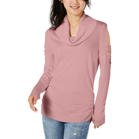 Hooked Up by IOT Womens Juniors Sweater Ribbed Cowl Neck - Destry Rose - S