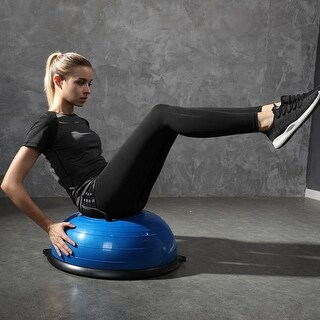 Costway 23'' Blue Yoga Ball Balance Trainer with Pump Home Exercise Training Fitness