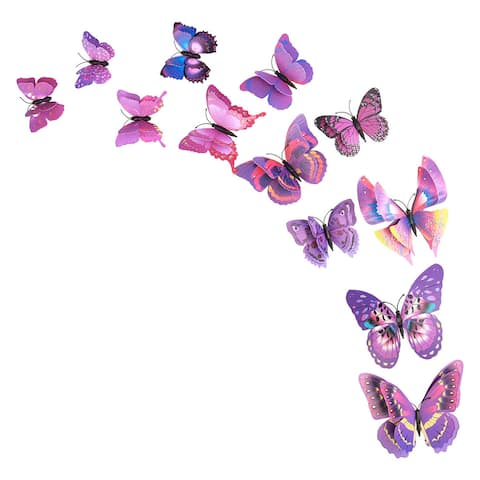 12pcs 3D Butterfly Wall Sticker Decal Sticker for Bedroom Decoration Purple