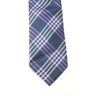 Black Brown 2536 NEW Purple Violet Plaid Grid Men's Classic Silk Necktie