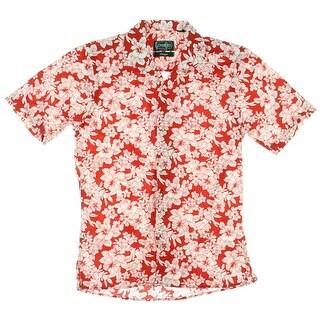 Gitman Bros. Mens Cotton Button Down Hawaiian Print Shirt