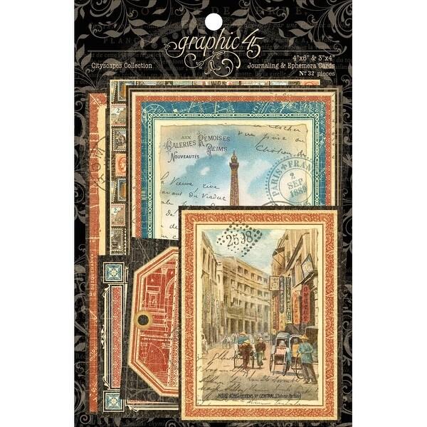 "Cityscape Ephemera Cards-(16) 4""X6"" & (16) 3""X4"""