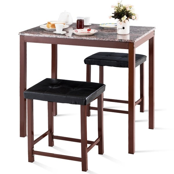 3 Pcs Modern Counter Height Dining Set Table And 2 Chairs: Shop Costway 3 PCS Counter Height Dining Set Faux Marble
