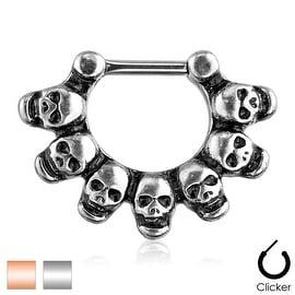 Linked Skulls 316L Surgical Steel Septum Clicker Ring (Sold Indiv.)