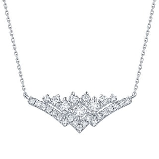 Smiling Rocks 0.57Ct G-H/VS1 Lab Grown Diamond Cruve Bar Cluster Necklace