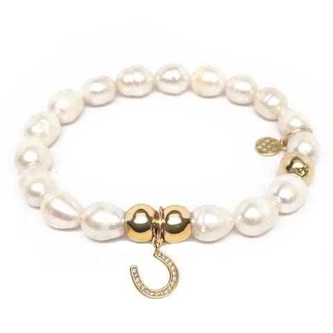 Julieta Jewelry Horseshoe Charm Pearl Bracelet