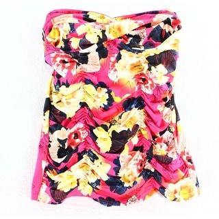 Seafolly NEW Pink Women Size 4 Tankini Top Floral Printed Gathered Swimwear