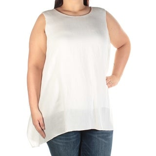 Womens Ivory Sleeveless Jewel Neck Wear To Work Hi-Lo Top Size 16