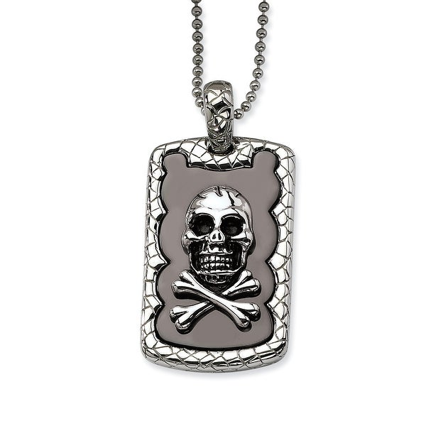 Chisel Stainless Steel Skull & Crossbones IP Black Plated Dogtag Pendant 24 Inch Necklace (1 mm) - 24 in