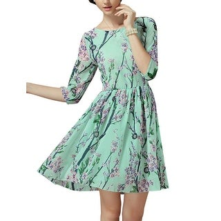 Lady 3/4 Sleeve Round Neck Floral Print Summer Casual Skater Dress Mint XL