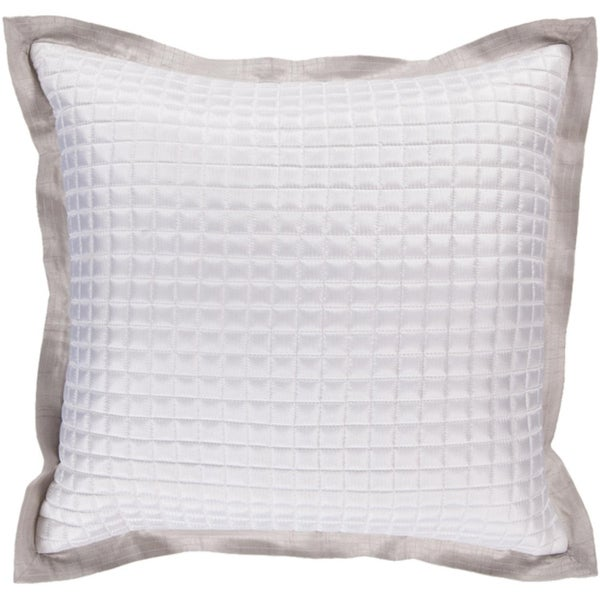 "22"" Quilted Squares Pale Gray Decorative Square Throw Pillow - Down Filler"