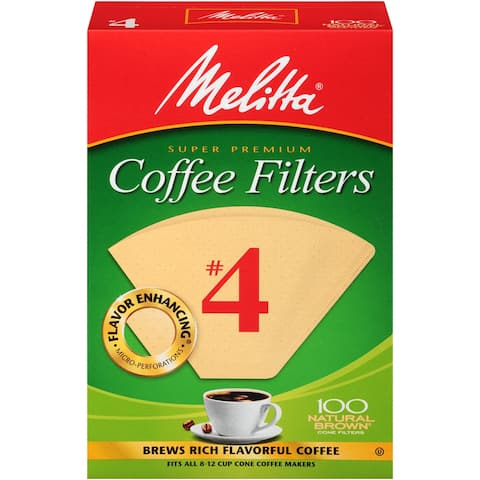 Melitta #4 Cone Coffee Filters, Natural Brown, 100 Count
