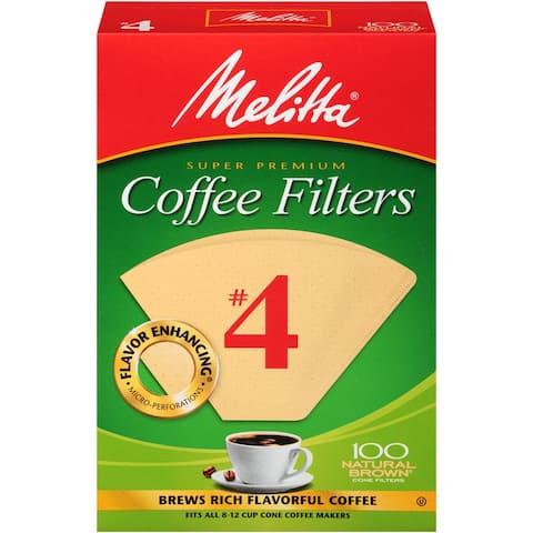 Melittta Super Premium #4 Cone Paper Coffee Filters Natural Brown, 100 Count, 2 Pack