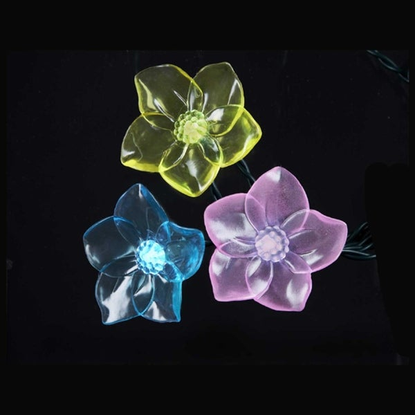 Set of 10 Multi-Color LED Tropical Flower Novelty Christmas Lights - Green Wire - BLue