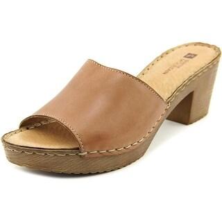 White Mountain Morsel Women Open Toe Leather Brown Slides Sandal
