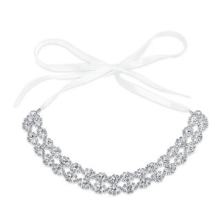 Bling Jewelry Silver Plated Crystal Bridal Hair Accessory With Ribbon