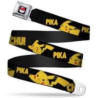 Pok Ball Full Color Black Pikachu Attack Poses Pika Chu! Black Yellow Seatbelt Belt