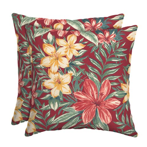 Arden Selections Ruby Clarissa Tropical Outdoor Square Pillow (2-Pack) - 16 in L x 16 in W x 5 in H