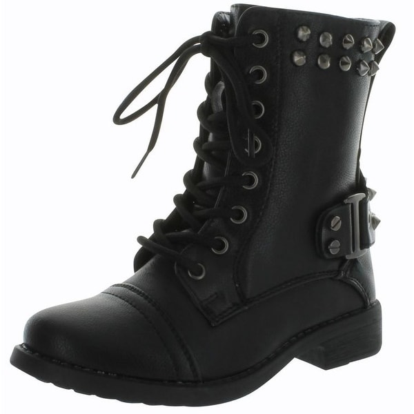 Andrea-37K Girls Jr Combat Studded Fashion Tall Boots