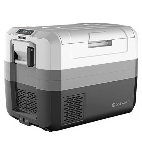 Costway 58 Quart Portable Electric Car Cooler Refrigerator Compressor Freezer Camping - White+Gray+Black