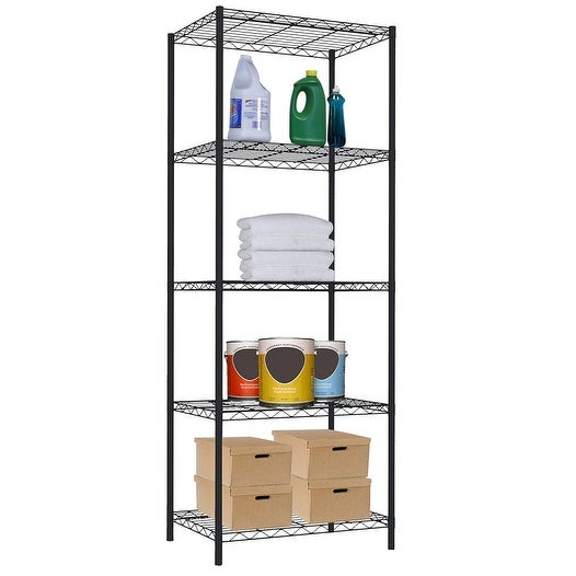 Home Basics 5-Tier Wire Shelving Storage Unit, Black, 21x13.8x61 Inches