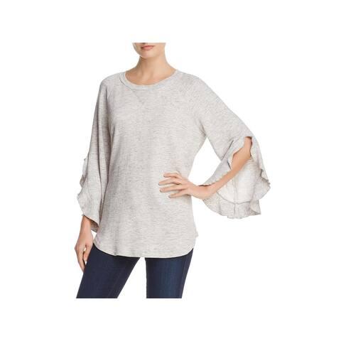 Ella Moss Womens Pullover Sweater Heathered Ruffle Sleeves