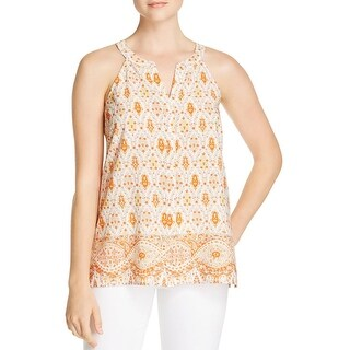 Sanctuary Womens Collage Button-Down Top Printed Split Neck