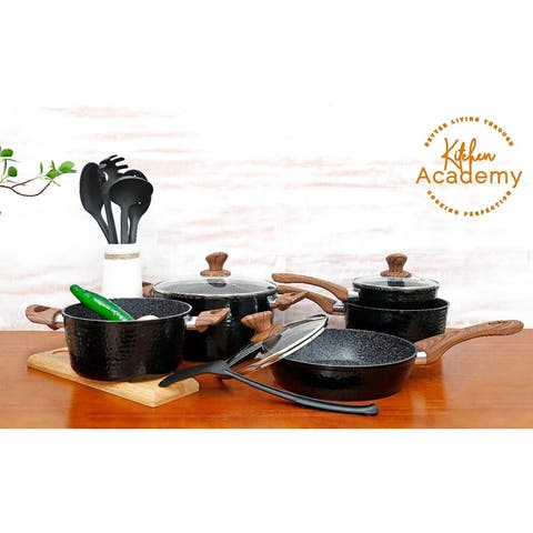 Kitchen Academy 15 Piece Nonstick Granite-Coated Cookware Set Suitable for All Stove Including Induction