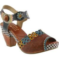 L'Artiste by Spring Step Women's Jive Quarter Strap Sandal Camel Multi Leather