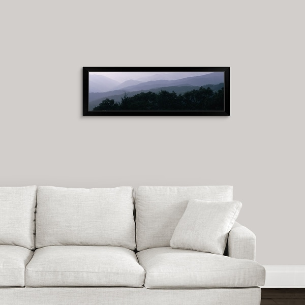 """Trees with a mountain range in the background, Blue Ridge Parkway, North Carolina"" Black Framed Print"