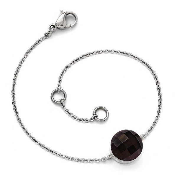 Chisel Stainless Steel Polished Dark Brown Glass with 1 inch Extension Bracelet