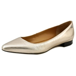 Calvin Klein Elle Women Pointed Toe Leather Gold Flats