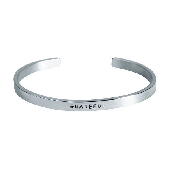 "Women's ""I Am"" Engraved Stainless Steel Stacking Bangle Bracelet - Grateful - Silver"