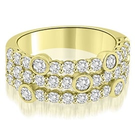 2.20 cttw. 14K Yellow Gold Three-Row Round Cut Diamond Wedding Ring