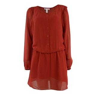 MADE for Impulse Women's Buttoned Chiffon Blouson Dress - l