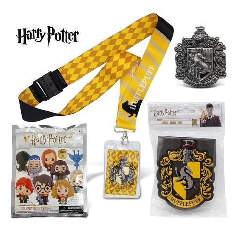 Warp Gadgets Harry Potter Bundle - Hufflepuff Deluxe Lanyard W/ Card Holder, Pewter Lapel Pin, Deluxe Memo Pad &...