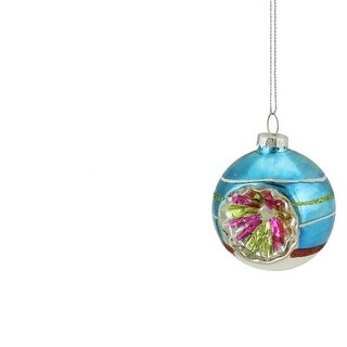 """Blue, Green and Red Glittered Witches Eye Glass Ball Ornament 2.75"""" (70mm)"""